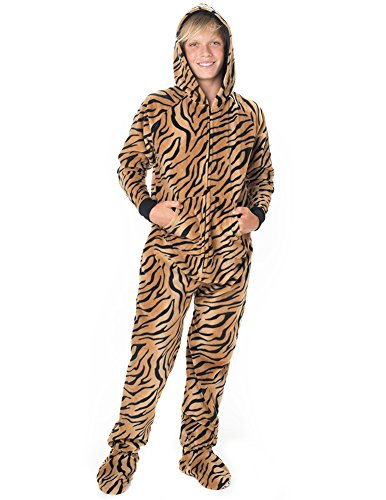 Footed Pajamas - Tiger Stripes Kids Hoodie Fleece
