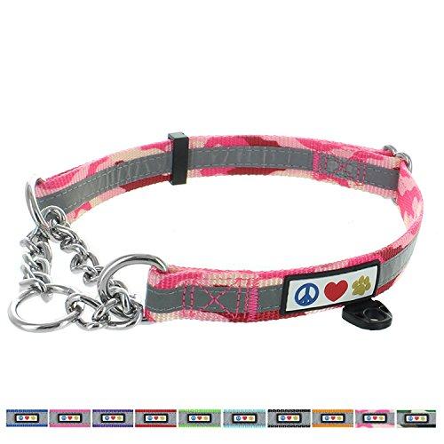 (Pawtitas Chain Martingale Dog Collar Puppy Collar Reflective Dog Collar Training Dog Collar Behavioral Dog Chain Collar Collar Large Dog Collar Camouflage Pink Dog Collar)