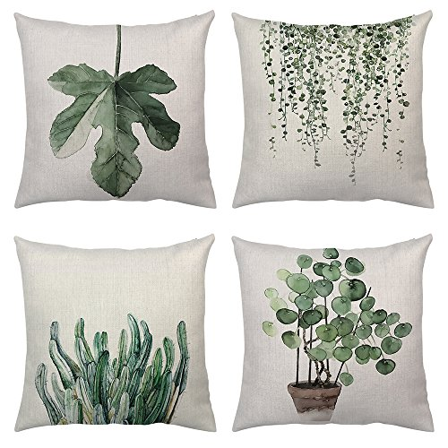 Set of 4Pcs Green Leaf Plants Throw Pillow Covers Tropical Fern Linen Cushion Cover Cases Leaves Decorative Square Cotton Case for Bed Sofa Car Outdoor 18x18 inches