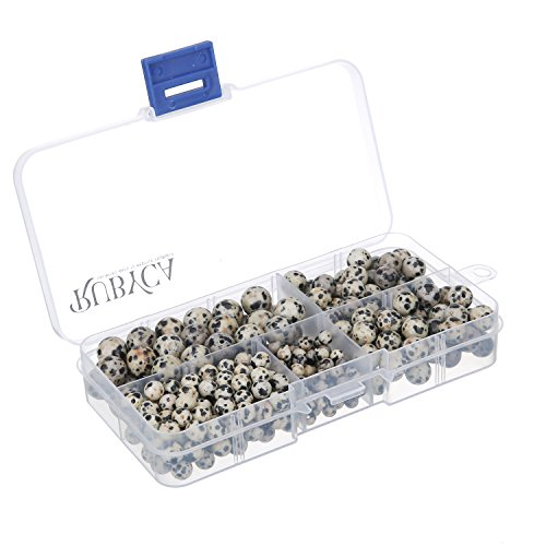 - RUBYCA Natural Dalmatian Jasper Gemstone Round Loose Beads Organizer Box Jewelry Making Mix Sizes