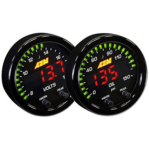 AEM 52mm X-Series Digital Voltage/Voltmeter 8~18v + Oil/Fuel Pressure Gauge Set