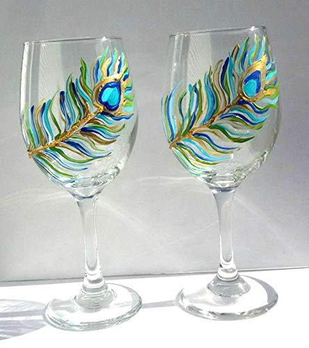 - 2 Peacock Feather Hand Painted Wine Glasses