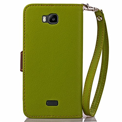 YAJIE-Carcasa Funda Para Huawei Honor Bee / Huawei Y5C Case, Nature Leaf Cierre magnético PU Leather Wallet Flip Case Cover ( Color : Rose ) Green