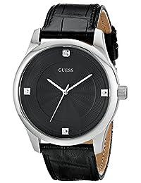 Guess Men's U0539G1 Black Leather Quartz Watch