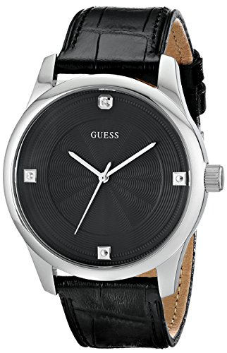 GUESS Men's U0539G1 Dressy Black Watch with Genuine Diamond Markers
