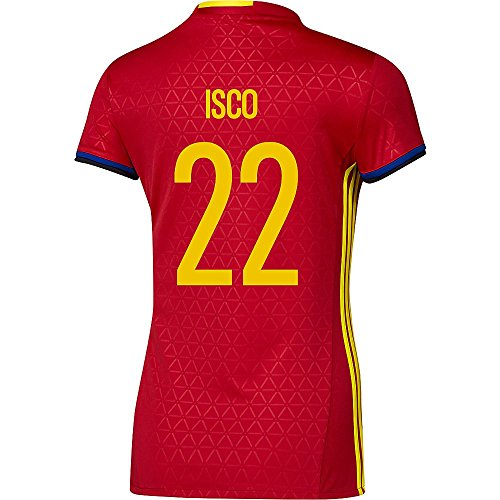 トロリー広がり伝染性のAdidas ISCO #22 Spain Women's Home Jersey UEFA FURO 2016 (Authentic name & number) /サッカーユニフォーム スペイン ホーム用 イスコ レディース向け