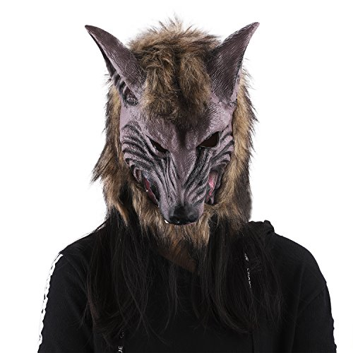 Halloween Party Fancy Dress Costume Props Latex Animal Wolf Head Mask Decoration