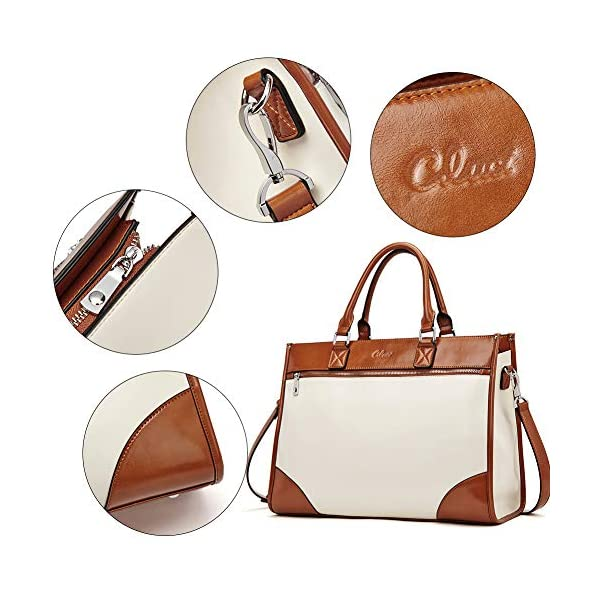 CLUCI Womens Briefcase Oil Wax Leather 15.6 Inch Laptop Business Vintage Ladies Large Capacity Shoulder Bag Beige with Brown 5