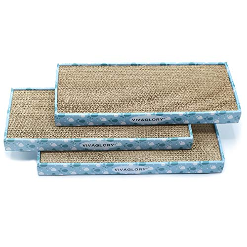 Vivaglory Reversible Cat Scratcher Cardboard with Box, Cat Scratching Pad Kitty Corrugated Sofa Lounge, Catnip Included, 3 Pack, Regular ()