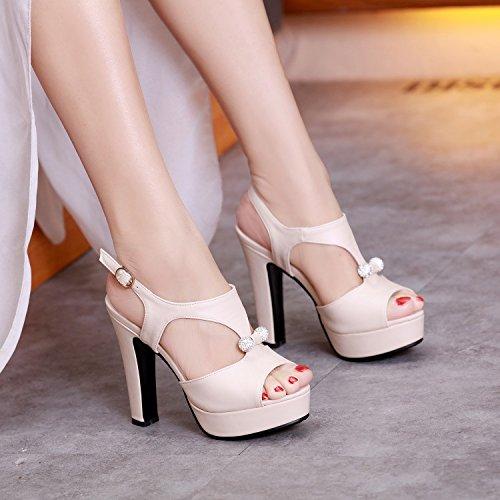 Shoes Shoes Sandals Korean Women KPHY High Of Mouth Fish Beige Sexy Heel Summer Women Version And Waterproof Work Platform Rough European American Heel Shoes 0ddx1Tq
