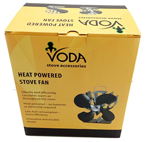 VODA 4-Blade Heat Powered Stove Fan for Wood/Log Burner/Fireplace Increases 80% More Warm air Than 2 Blade Fan- Eco Friendly