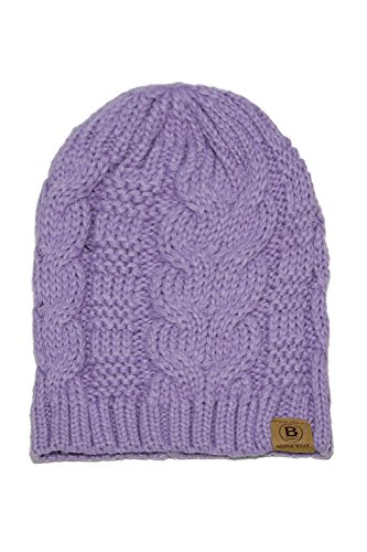 Basico Unisex Warm Chunky Soft Stretch Cable Knit Beanie Cap Hat (102 Lavender)