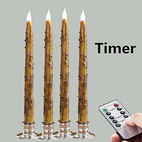 ameless Tall Thin Taper LED Candles W/Remote&Timer&Candlesticks set of 4 (Country Primitive Candles)