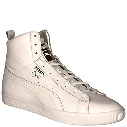 new concept 84763 0a16e Puma Clyde Mid Core Foil Mens White Leather High Top Lace Up ...