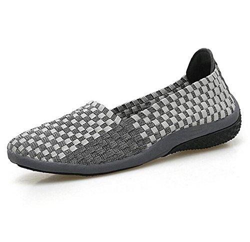 XIE Zapatos Ocasionales de Las Señoras Manual Que Hace Punto Zapatos grey