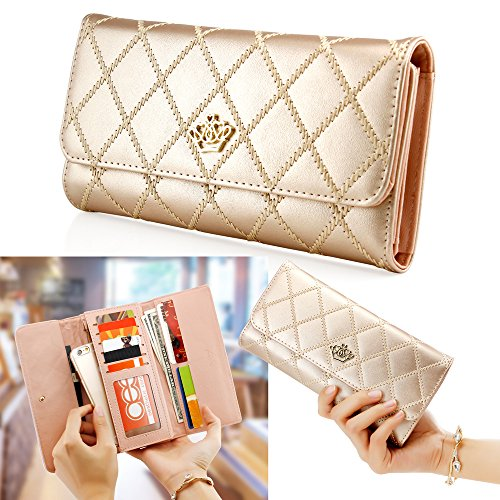 Check Leather Wallet (Oct17 Fashion Lady Check Plaid Faux Leather Women Wallet Clutch Long Purse Card Holder Handbag - Gold)