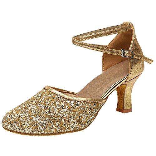 Azbro Mujer Moda Zapato de Baile Fiesta Latín Correa Cruzada Puntera Punta Dorado