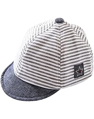 Baby Boys Flat UV Sun Protection Basecaps Lightweight Strips Cotton