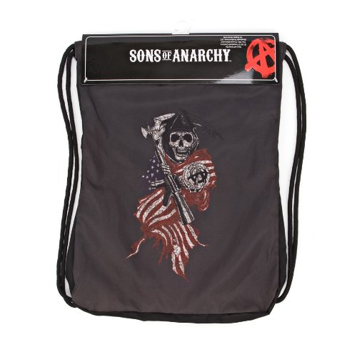 Sons Of Anarchy Mens Flag Reaper Backsack  Black  One Size
