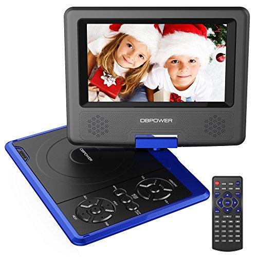 DBPOWER 7.5'' Tragbarer DVD-Player, 5 Stunden Akku, schwenkbaren Bildschirm, unterstützt SD-Karte und USB, mit Spiele-Joystick, Auto-Ladegerät--Blau