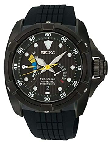 Seiko Men's SRH013 Velatura Kinetic Direct Drive Black Dial Black Rubber Strap Watch (Digital Watch Men Seiko)