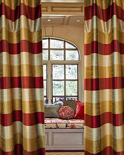 Buffalo 3 toned checkered faux silk curtain/panel (52