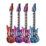Kicko 42 Inch Inflatable Rock Guitar Toy - 12 Pieces of Colorful Electric Musical Instrument Inflates- Classroom Rewards, Party Decoration, Festivals, Concerts, Carnivals
