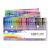 Dailyart 100 Glitter Gel Pens Set,100-Piece Unique Color Glitter Pens, Rare Colors Perfect for Adult Coloring Books, Journals, Drawing, Painting and Writing