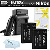 2 Pack Battery And Charger Kit For Nikon Coolpix S3700, S2800, S2900, S33, S7000, S6900, S4300, S6400, S5200, S6500, S4200 Digital Camera Includes 2 Replacement Extended (1000Mah) EN-EL19 Batteries + 110/220 AC/DC Charger + Screen Protectors + More