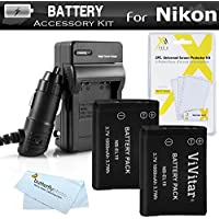 2 Pack Battery And Charger Kit For Nikon Coolpix S2800, S4300, S3700, S2900, S33, S7000, S6900, S6400 S5200 S6500 S4200, S6800, S3600, S32 Camera Includes 2 Replacement EN-EL19 Batteries + Charger ++