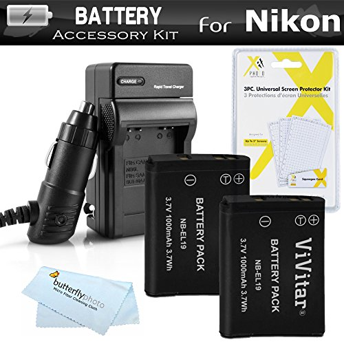 2 Pack Battery And Charger Kit For Nikon Coolpix S3700, S2800 S2900, S33, S7000, S6900, S6400, S5200, S6500, A300, W100 Digital Camera Includes 2 Replacement EN-EL19 Batteries + AC/DC Charger + More