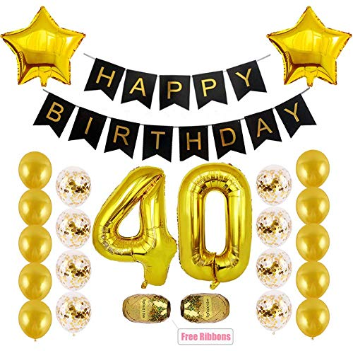 (Kwayi 40th Birthday Decoration Kit, Milestone 40 Birthday Decoration Supplies with Happy Birthday Banner, Large Number 40, Free Ribbons, Totally 37PCS Birthday Party Decoration for)