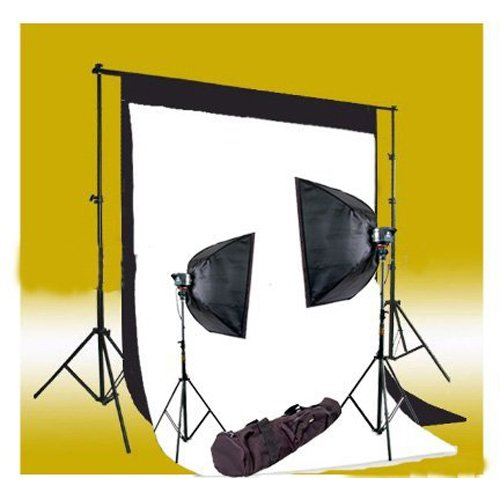 CowboyStudio 320 Watt Photography Studio Monolight Flash Lighting Kit - 2 Studio Flash/Strobe, 2 Softboxes, 1 Background Support System, 10-Inch x 13-Inch Black & White Muslin Backdrops and Carry Case by CowboyStudio