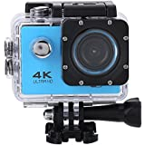 Acouto Wifi Sports Action Camera,2 Inch 4k 12MP 140°Angle with Waterproof Housing Case,Camera Frame,USB Cable,US Plug Adapter and more Accessories Kits (Blue)