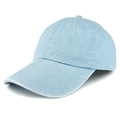 Trendy Apparel Shop Low Profile Unstructured Pigment Dyed Cotton Twill Baseball Cap - Light Blue (Solid Dyed Twill Cap Pigment)