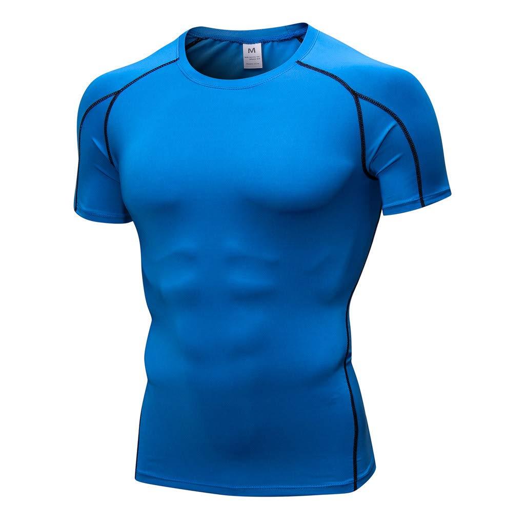 UJUNAOR Herren Einfarbig Tight Training Sports Laufendes Kurzarm-T-Shirt