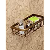 qiuxi Modern bathroom accessories Shower Basket , Antique Polished Brass Wall Mounted
