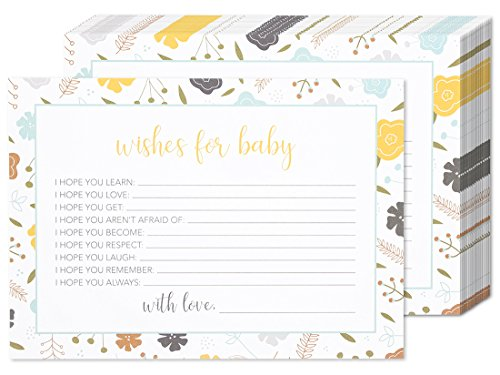 50 Sheets Baby Shower Well Wishes Party Games - for Boy or Girl Unisex Gender Neutral - for 50 Guest Activities Supplies - 5 x 7 Inches (Cards Wishes Get Well)