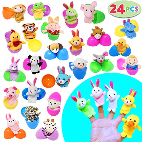 "24 Pieces 2 3/8"" Finger Puppet Easter Eggs for Easter Theme Party Favor, Easter Eggs Hunt, Basket Stuffers Fillers, Classroom Prize Supplies by Joyin Toy for $<!--$19.99-->"
