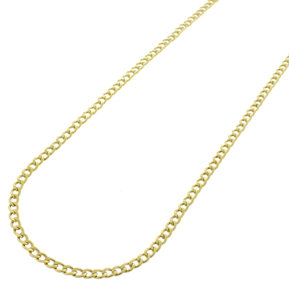 14k Yellow Gold 2mm Hollow Cuban Curb Link Necklace Chain 16'' - 30'' (22)