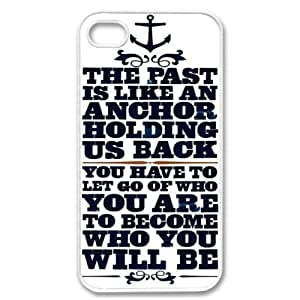 2015 customized Apple iPhone 4 4G 4S Anchor Naval Quote Design WHITE Sides Slim HARD Case Skin Cover Protector Accessory Vintage Retro Unique AT&T Sprint Verizon Virgin Mobile