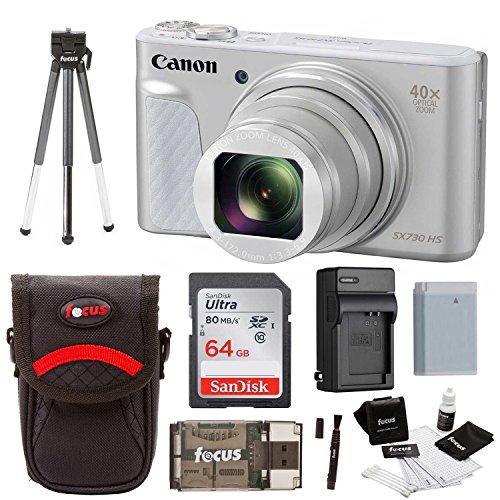 Canon Powershot SX730 Digital Camera Bundle (SX730 64GB, Silver)