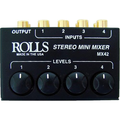 Rolls MX42 4-Channel Passive Mini Stereo Mixer with 2 RCA Male to 2 RCA Male Dual Audio Cable 3' by rolls (Image #3)