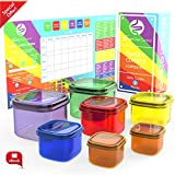 Smart Diet Control - 7 Piece Portion Control Containers Kit with Guide & Planner 100% Leak Proof Microwave and Dishwasher Safe Multi-Colored System for Food Storage and Comparable to 21 Day Fix