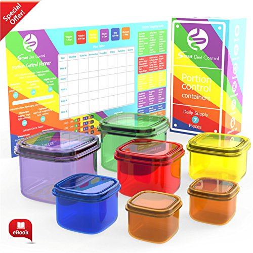 Smart Diet Control Portion Containers kit 7 Piece with eBook 21 day Meal Planner Complete Guide Leak Proof Microwave and Dishwasher Safe (Cheap Hot Plates compare prices)