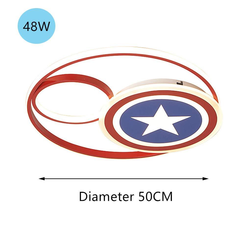 Plafonnier LED Lampe Captain America D/écor Dimmable Avec T/él/écommande Lampe acrylique moderne Salon Chambre /à coucher Salle /à manger Study Boy Girl Lampe de chambre denfant,48W/Ø50CM