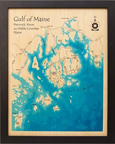 Santa Barbara Coast (Goleta to Carpinteria) - Santa Barbara - CA - Multicolor Laser Print Map 11 x 14 in (Black Frame) - Multicolor print framed nautical chart and topographic depth map.