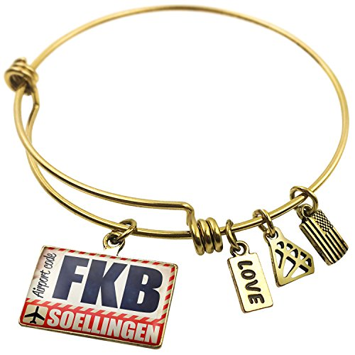 Expandable Wire Bangle Bracelet Airportcode Fkb Soellingen  Neonblond