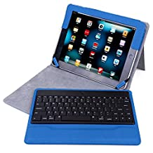 HDE iPad 2 Keyboard Case Wireless Bluetooth Leather Folio Cover Folding Stand for Apple iPad 2 3 4 (Blue)