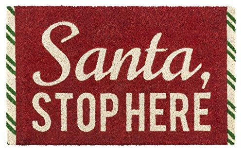 Entryways Santa Stop Here Non- Slip Coconut Fiber Doormat 17